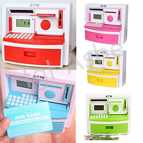 Okokmall Us  Kids Electronic Coin Note Money Counting Atm Box Saving Safe Digital Piggy Bank