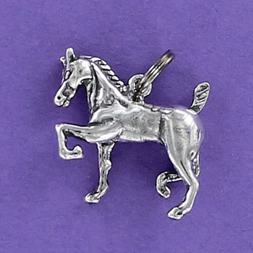 (Pendant Jewelry Making Prancing Horse Charm Sterling Silver for Bracelet Show Morgan Braided Mane)