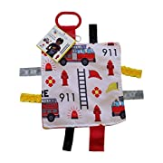 Lovey Chew Blanket Crinkle Toy Tag Square Sensory by Baby Jack (Fire Fighter)