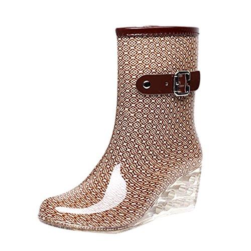 Dot Wasserdichte Damen Beige Heel Wellies Booties Gartenschuhe Stiefel LvRao High Rain Damen Reißverschluss Pattern 8EwTnHqd