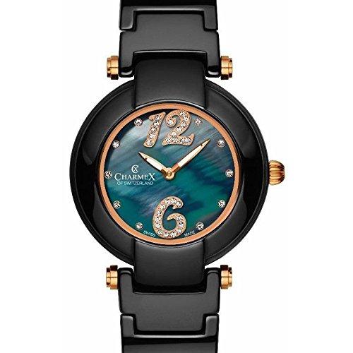 Charmex Tuscany 6268 35mm Ceramic Case Black Ceramic Synthetic Sapphire Women's Watch
