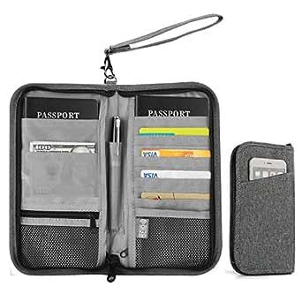 Family Travel Wallet, Vivefox RFID Blocking Passport Wallets, Travel Documents Organizer for Family & Men & Women (Grey)