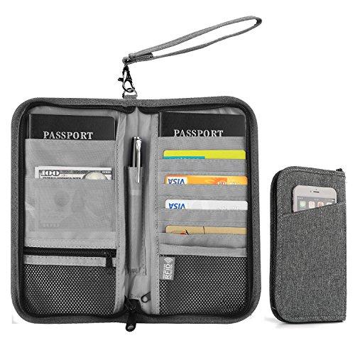 Family Travel Wallet, Vivefox RFID Blocking Passport Wallets, Travel Documents Organizer for Family & Men & Women - Gray