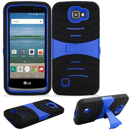 Phone Case for Straight Talk LG Rebel 4g LTE (Tracfone) / LG Optimus Zone 3 4G LTE / LG K4 4g LTE (Verizon Wireless)/ LG Spree ( Cricket Wireless ) Rugged Heavy Duty Armo Cover Blue (4g Lte Accessories)