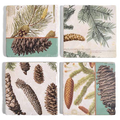 Studio Vertu Pinecone Botanical Marble Coasters, Set of 4
