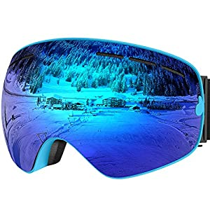 UShake Ski Goggles, Snow Goggles, Snowboard Goggles with Mirrored Anti-fog Anti-scratch 100% UV Protection Lens TPU Frame ( Blue Frame with Blue Lens)