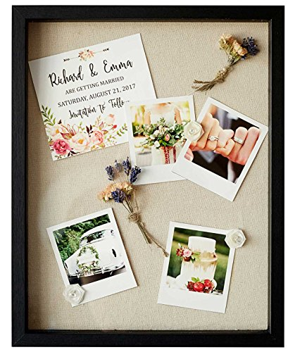 Shadow Box Display Case - 11x14 Deep Wood & Glass Shadowbox Picture Frame with Linen Board - Wall-Hanging & Free-Standing - 3D Showcase Keepsake Art Graduation Baby Wedding Military Sport - Black ()