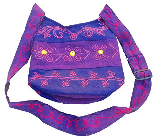 EMBROIDERED FAIR BAG COTTON PADDED SHOPPING SHOULDER HIPPY TRADE amp; BOHO Purple Blue HHw7qTt