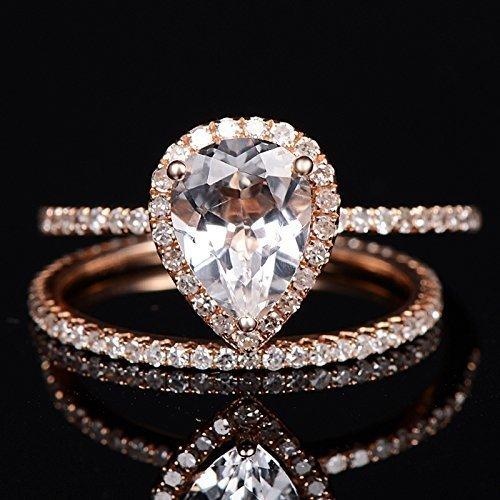 Amazon Com Topaz Engagement Ring Pear Shaped Rose Gold Diamond