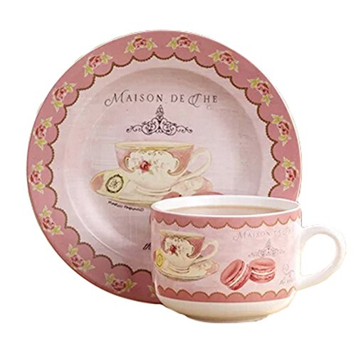 Hand-Drawn English Style Coffee Cup Tea Cup With Dish,Pink