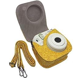 Shaveh Fujifilm Instax Mini 8 Accessories, 11 in 1 Camera Bundles Set Include Camera Case/Album/Selfie Lens/Colored Filters/Wall Hang Frames/Film Frames/Border Stickers/Corner Stickers/Pen (Yellow)