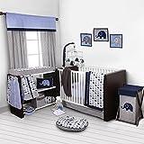 Bacati Elephants Blue/Grey 10 Piece Crib Set without Bumper