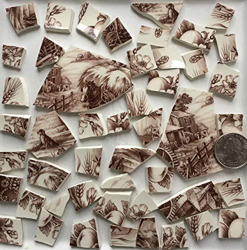Mosaic Art & Craft Supply ~ Brown & White Transferware Tiles (T A425)