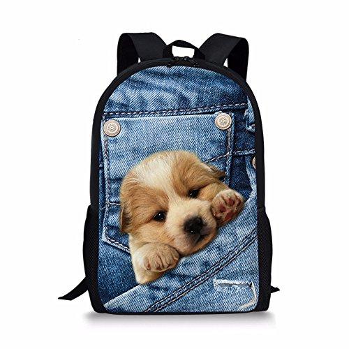 DDKK backpacks Pet Dog Print Backpacks Cute Puppy School Bag Creative 3D Print Bookbag for Kids Boys Girls-Children Cute School Bag