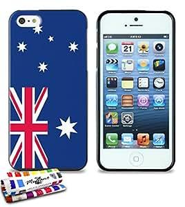 Carcasa Flexible Ultra-Slim APPLE IPHONE 5 de exclusivo motivo [Australia Bandera] [Negra] de MUZZANO  + ESTILETE y PAÑO MUZZANO REGALADOS - La Protección Antigolpes ULTIMA, ELEGANTE Y DURADERA para su APPLE IPHONE 5
