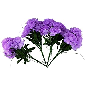 MM TJ Products Artificial Carnations Bushes. 7 stems Pack of 4 bushes (Lavender) 2