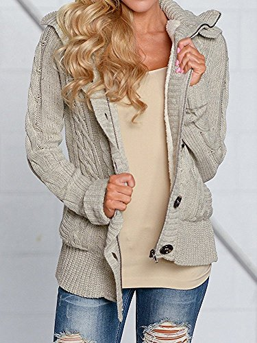 Yacooh Womens Cardigan Sweaters Cable Knit Open Front Hooded Button Down  Sweater Coat at Amazon Women s Clothing store  ba2762a0d