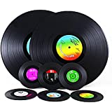 Vintage Vinyl Record Set of 6 Beverage Coasters and 2 Table Placemats, For Wine, Beer, Hot and Cold Drinks And Hot Plates. Vinyl Coasters & Place Mats Are Best Gift for Music Lovers