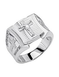 .925 Sterling Silver Rhodium Plated Religious Crucifix Embossed Men's Ring