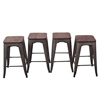 Amazoncom Haobo Home 24 Backless Metal Counter Stool Height Bar