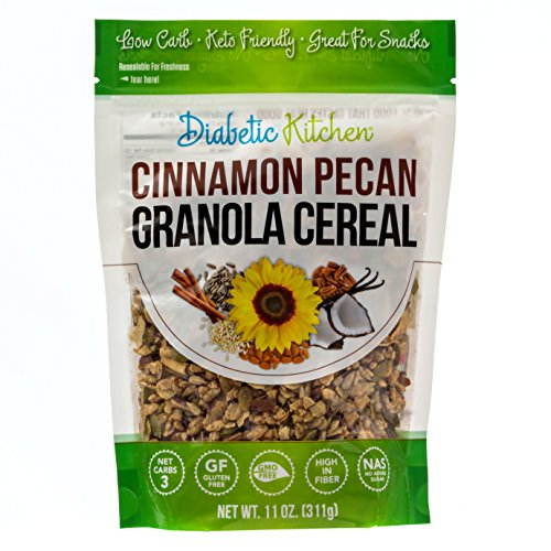 Diabetic Kitchen Cinnamon Pecan Granola Cereal, 3g Net Carbs, No Sugar Added, Keto Friendly, Low Carb, Gluten-Free, High Fiber, Non-GMO, No Artificial Sweeteners or Sugar Alcohols Ever (11 oz)