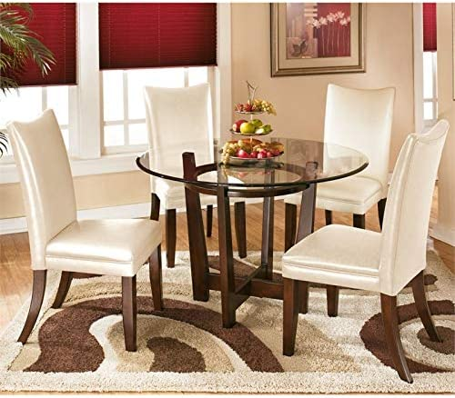 Ashley Furniture Charrell 5 Piece Glass Round Dining Set in Ivory
