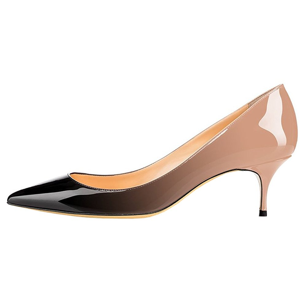 June in Love Womens Kitten Heels Short Slim Heel Shoes Pointy Toe Daily Pumps Nude Black 8.5 US