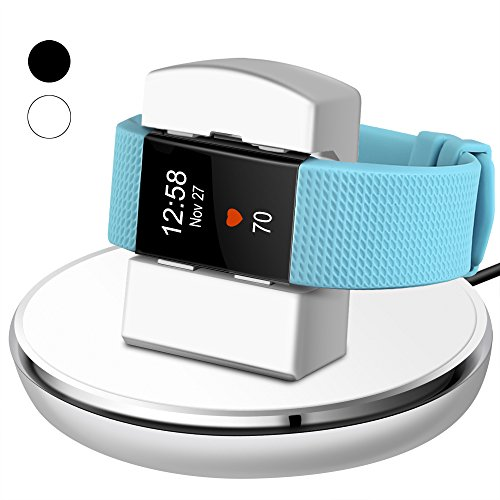 Price comparison product image For Fitbit Charge 2 Charger, EPULY for Fitbit Charge 2 Accessories Charging replacement Stand Dock Station Holder Cradle with 3 feet Charging USB Cable for Fitbit Charge 2 Smartwatch White