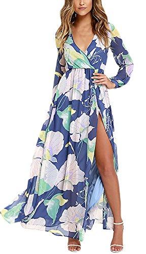 Kleider Damen V Neck Langarm Chiffon Blumendrucken High Waist Geöffnete Gabel Elegante Strandkleid Maxikleid