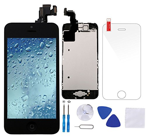 Full Assembly for iPhone 5C Screen Replacement Black LCD Digitizer Display Touch with Front Camera+Facing Proximity Sensor+Ear Speaker+Repair Tools and Screen Protector