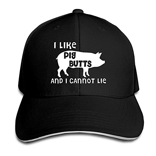 - I Like Pig Butts And I Cannot Lie Snapback Sandwich Peak Baseball Cap Hat