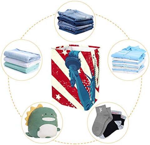 Tizorax Panier à linge pliable Statue américaine de la Liberté étanche en tissu sale avec poignées pour buanderie, chambre à coucher, salle de bain, dortoir