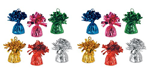 Beistle 50804-ASST 12-Piece Assorted Color Metallic Wrapped Balloon Weights