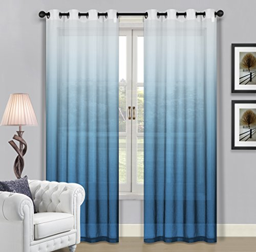 BH Home & Linen Beverly Hills Window Treatment Collation Fabric Ombre Sheer Grommet Window Panels a Pair of 2 Panels 52