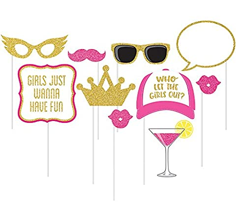 10-Piece Photo Props For Party, Girls Night Out (The Dazzle Picture Frames)