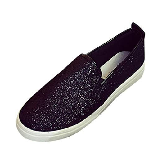 aae80e2eda4da Cenglings Women s Casual Solid Slip On Round Toe Loafers Flat Shoes Bling  Sequin Casual Loafer Shoes