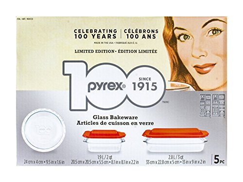 Limited Edition Glass - Pyrex 5-piece 100 Years Glass Bakeware Set (Limited Edition)