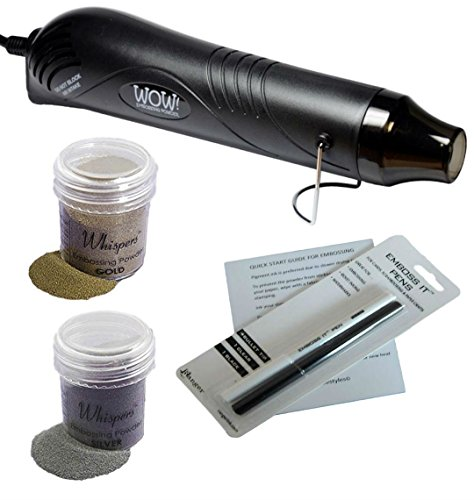 Embossing Kit with Embossing Heat Tool, 2 Embossing Powders (black heat tool) by ! Big Dream