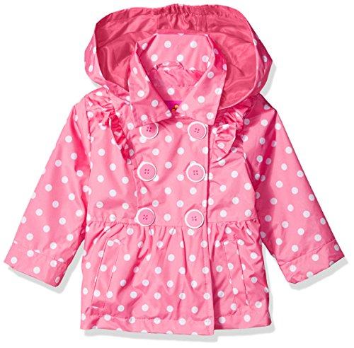 Pnk Dot - Pink Platinum Baby Girls Ruffled Trench Coat, Dot Pink, 12M