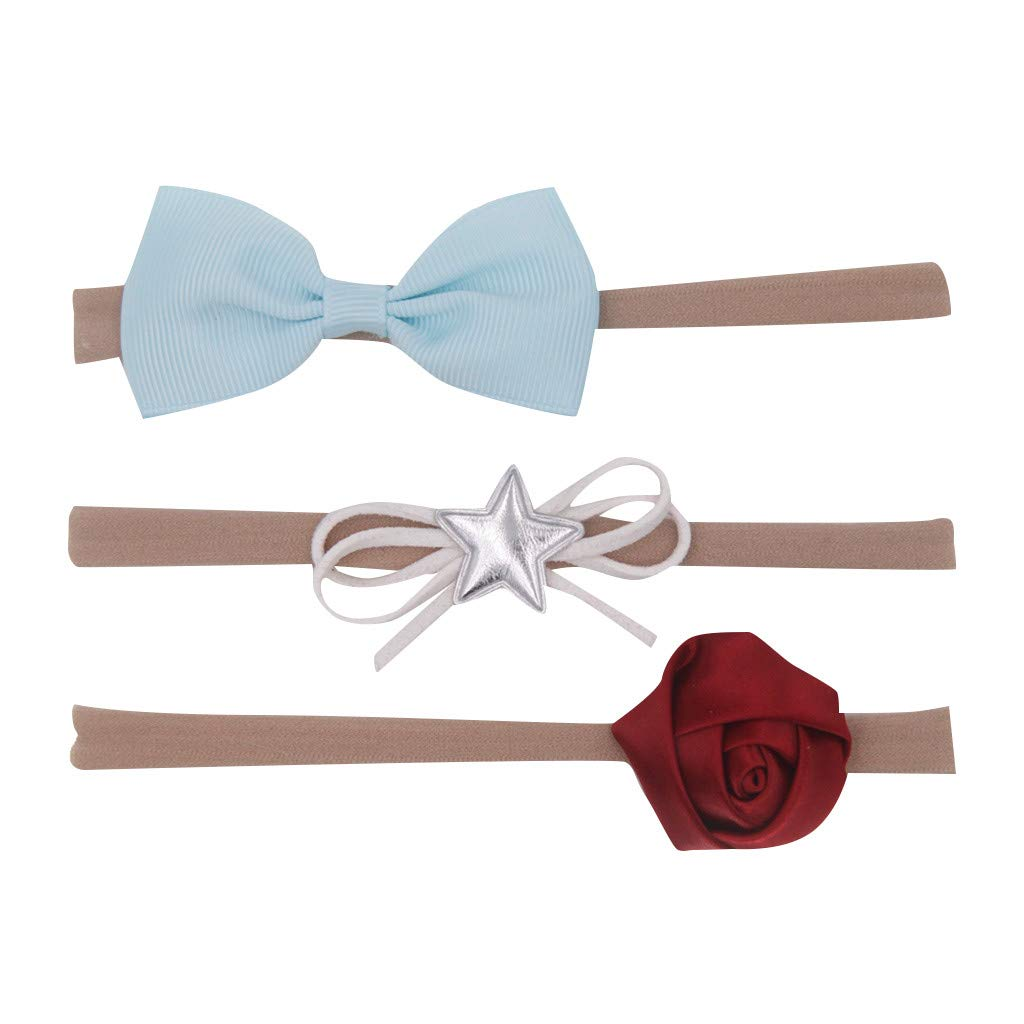 3Pcs Kids Cute Bow Knot Hairband Infant Baby Girls Hair Accessories Set Barrettes