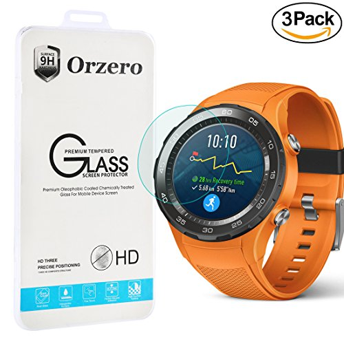 Price comparison product image [3 Pack] Orzero Huawei Watch 2 ( Not fit for 1st version ) Tempered Glass Screen Protector, 2.5D Arc Edges 9 Hardness High Definition Anti-Scratch Anti-Fingerprint [Lifetime Replacement Warranty]