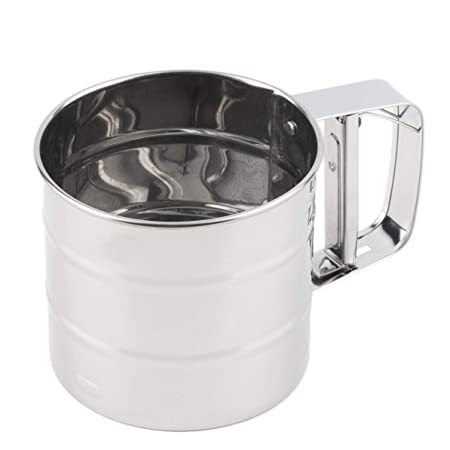 WEIWEITOE Tamiz de harina de Malla de Acero Inoxidable Tamiz mecánico para cocción de azúcar Colador Tamizador Estilo, Plata,