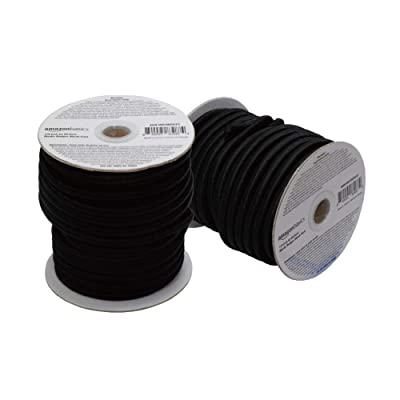 Basics 1/4-Inch by 50-Feet Elastic Bungee Shock Cord, Black, 2-Pack