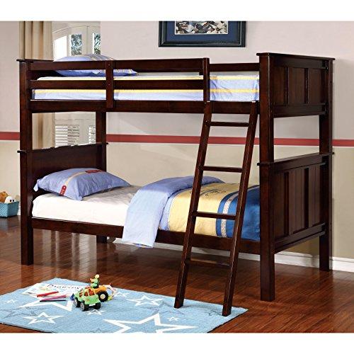 Furniture of America Karey Contemporary Dark Walnut Bunk Bed Queen by Furniture of America