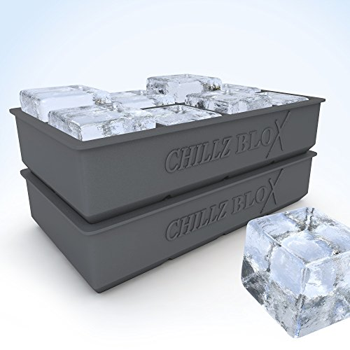 Chillz-Blox-Large-Ice-Cube-Tray-Set-for-Whiskey-Silicone-Ice-Mold-Maker-Molds-8-X-2-Inch-Ice-Cubes-2-Pack