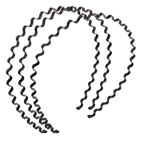 uxcell Women Wavy Design Black Metal Hair Hoop Headband Ornament 3 Pcs ()