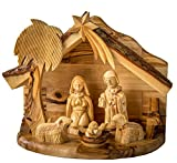 Earthwood Olive Wood 1 Piece Nativity Set with Holy Family and Sheep