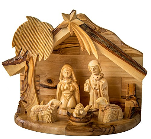 Earthwood Olive Wood 1 Piece Nativity Set with Holy Family and Sheep by Earthwood
