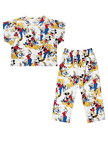 Tooniforms by Cherokee Kid's Unisex Mickey Mouse Print Scrub Set Large Mickey Mouse Club ()