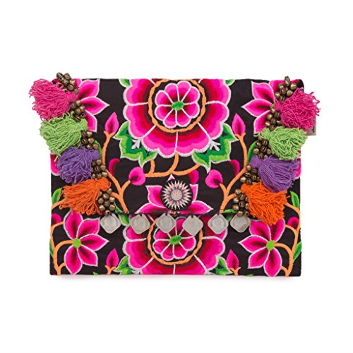 Changnoi Black Silk Worm Fair Trade Boho Clutch Bag/Purse with Hmong Hill Tribe Embroidered -